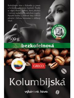 Bezkofeinová káva z Kolumbie - zrnková